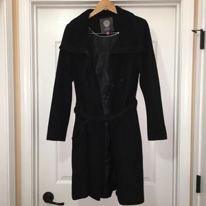 Vince Camuto Black Wool Double Breasted Pea Coat